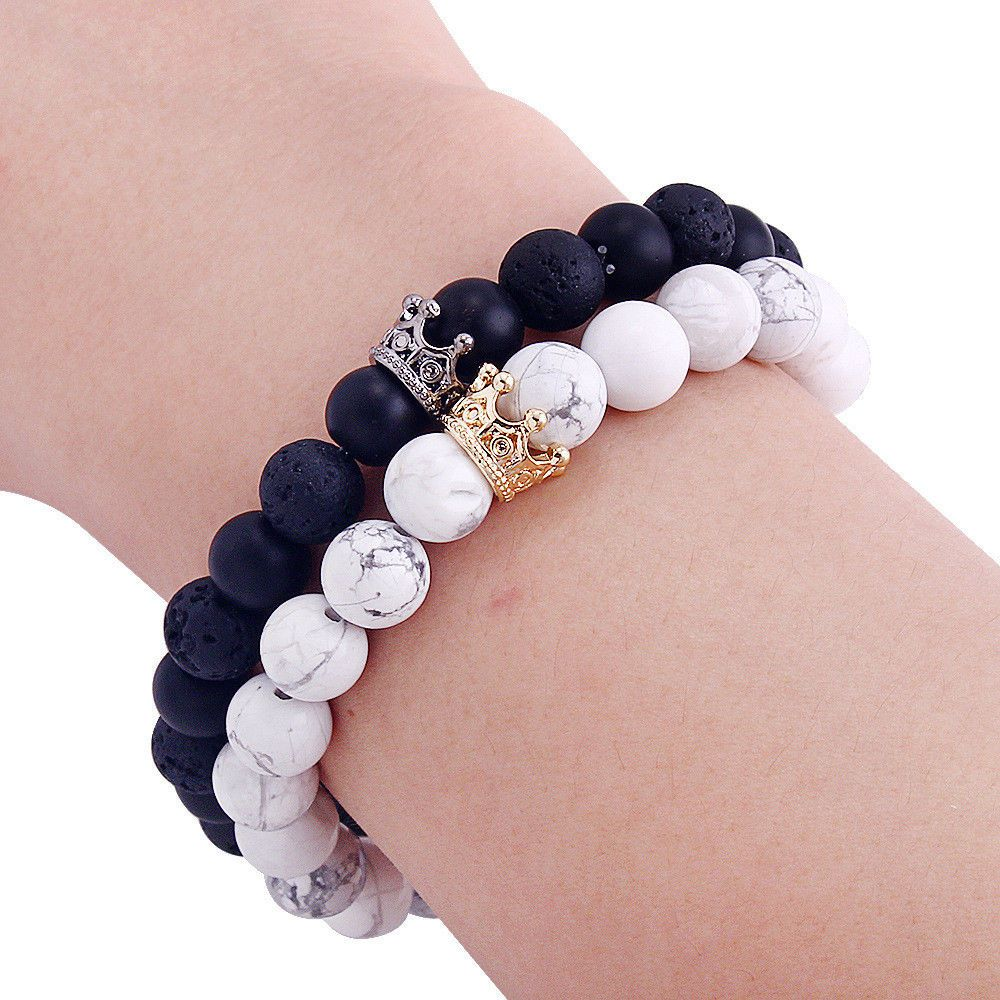 56830e2310 $3.25 - King Queen Crown Couple Bracelets His And Her Friendship 8Mm Beads  Bracelet #ebay #Fashion