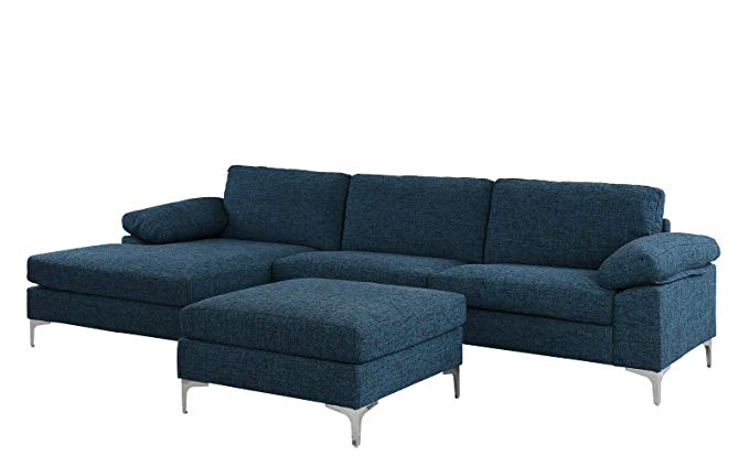 Amazon Com Large 108 2 Inch Sectional Sofa With Ottoman L Shape Couch With Chaise Dark Blue Gateway Couch With Chaise Large Sectional Sofa Sectional Sofa