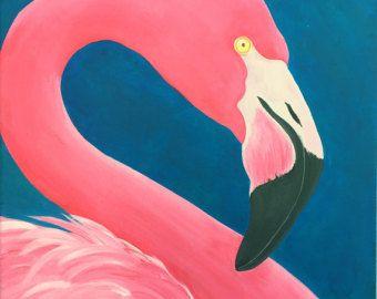 Flamingo Pink Flamingo Acrylic Painting Prints Giclee Pink