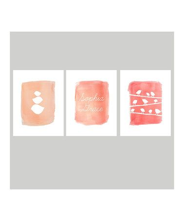 Another great find on #zulily! Pink Watercolor Personalized Print Set #zulilyfinds