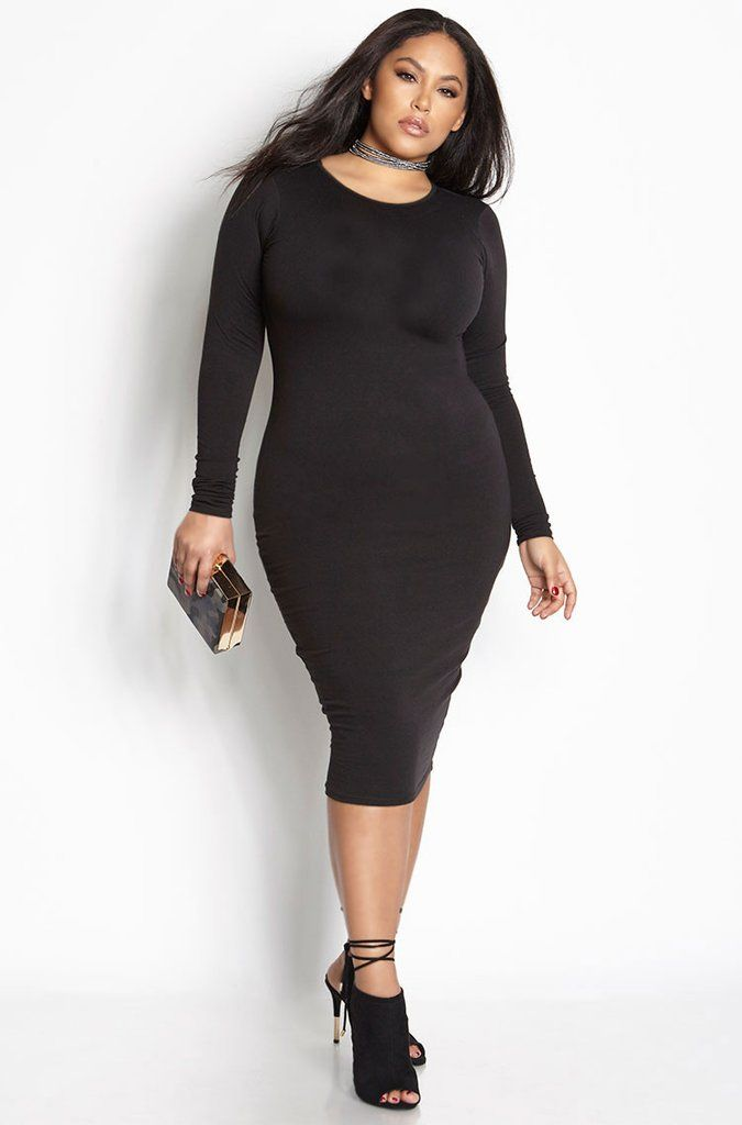 Essential Long Sleeve Crew Neck Bodycon Midi Dress ...