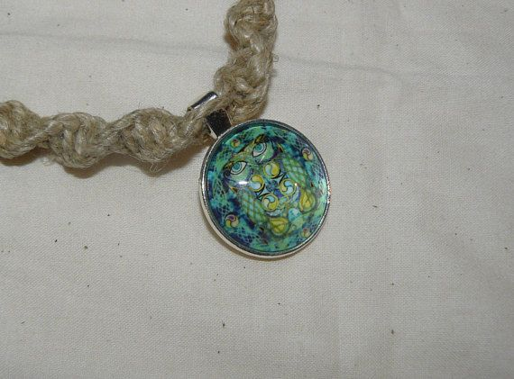 Glass pendant hemp choker necklace swirl knot green enchanted glass pendant hemp choker necklace swirl knot green enchanted owl mozeypictures Images