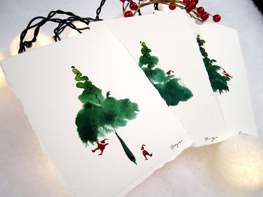 Unique and Original Greeting Cards Set. Set of 6 Santas