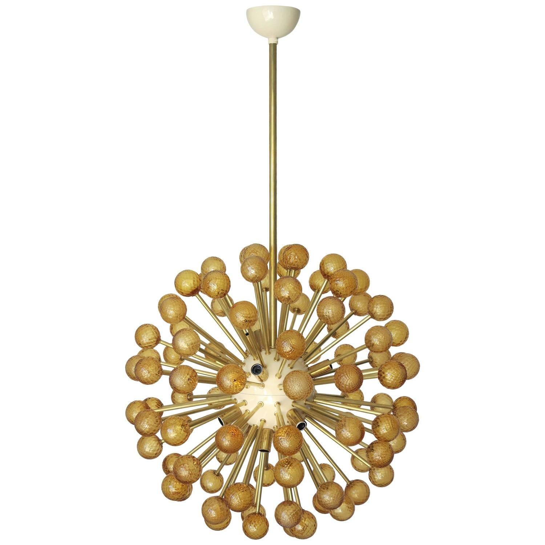 Italian Modern Amber Murano Glass Sputnik