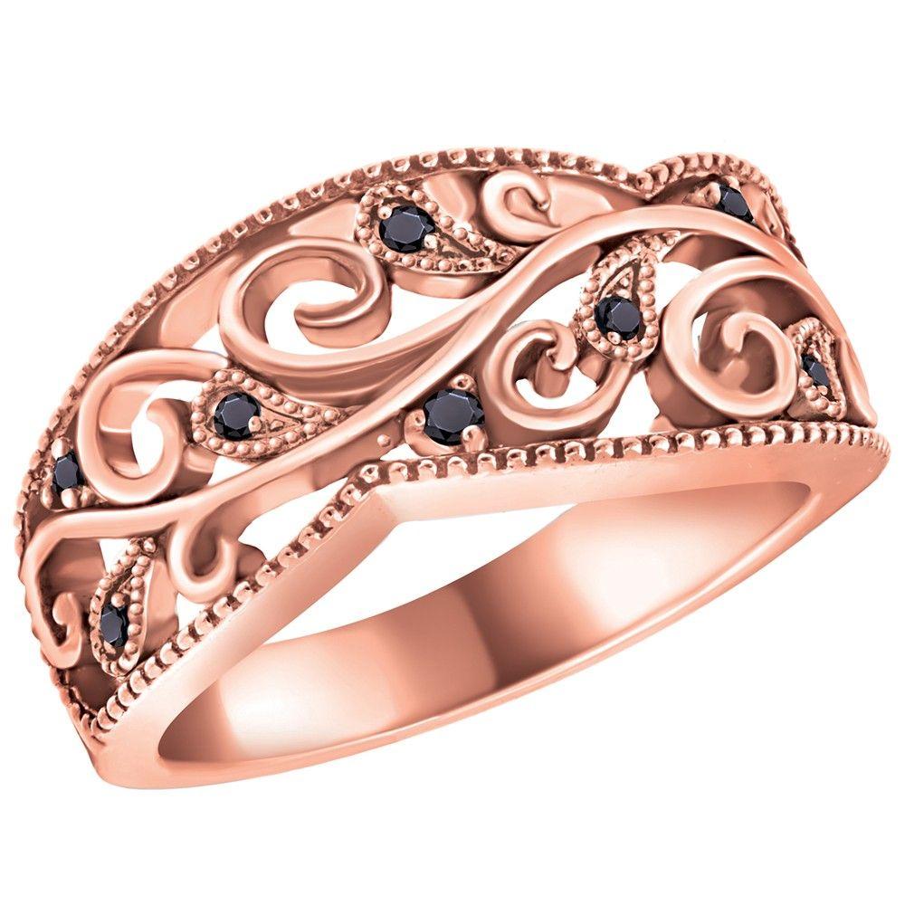 0 06 Carat Tw 10k Rose Gold Diamond Filigree Ring Featuring Black Diamonds Jewelry Jewelry Art Fantasy Jewelry