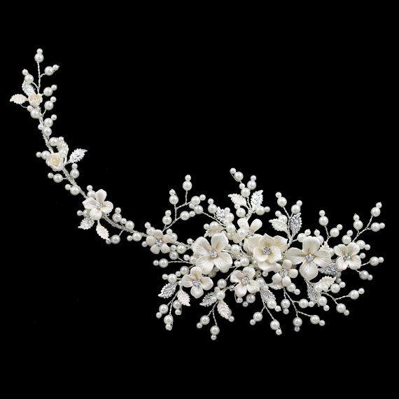 gold champagne bridal hair vine rose pearl by BellaTiaraLLC