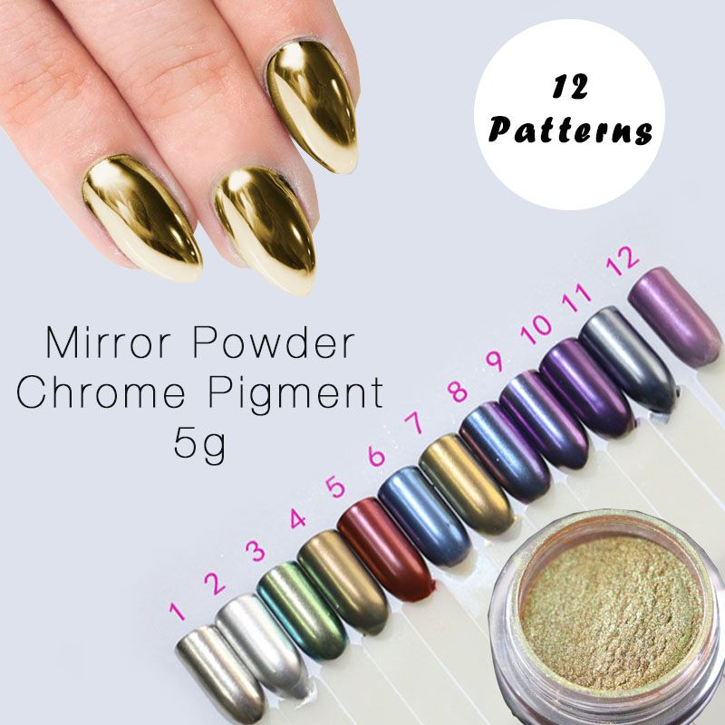 12 Color Mirror Powder Gold Pigment Ultrafine Dust Chrome Nail Glitters Sequins Art Decorations Check This Awesome Product By