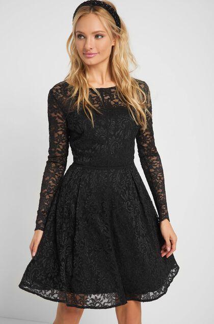 Kleid mit Spitze - Schwarz | Minikleid, Langärmliges kleid ...