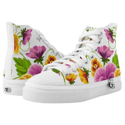 bd83bfc0ccd40 Flower Power High-Top Sneakers | Zazzle.com | flowers | High top ...