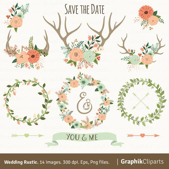 Rustic Wedding Clipart WEDDING CLIPART Floral By Graphikcliparts