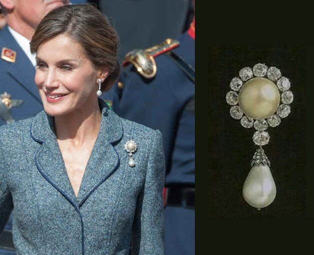 Queen Letizia wearing diamond and pearl Queen Queen Victoria Eugenia. Queen  Letizia of Spain attends the celebrations for the National Day on October  12 e9893f362abb