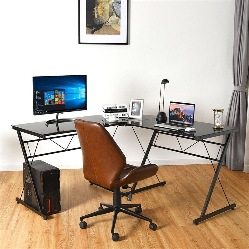 L Shape Computer Desk Tempered Glass Laptop Table Home Office Furniture Multi Functional Corn In 2020 Home Office Furniture Furniture Desk