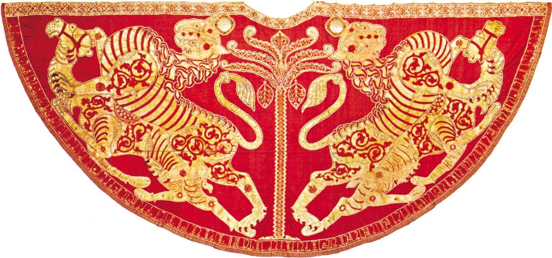 Coronation mantel of Roger II. It bears an inscription in Arabic with the Hijri date of 528 (1133–1134).