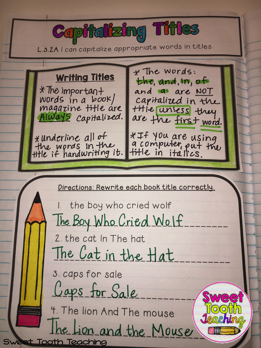 Capitalizing Titles Interactive Notebook Page Interactive notebooks are a  great learni…   Interactive notebooks [ 1200 x 900 Pixel ]