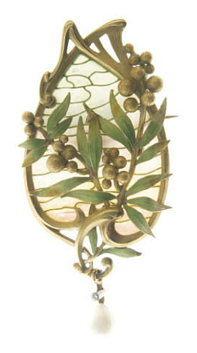 AN ART NOUVEAU ENAMEL AND PEARL BROOCH, BY LOUIS AUCOC Designed as a blue and light pink plique-à-jour enamel, intact, and gold plaque depicting the sky decorated with gold berries and green and gold enamel leaves, intact, suspending a rose-cut diamond and pearl drop, (with pendant hoops for suspension), shows signs of normal wear With maker's mark for Louis Aucoc