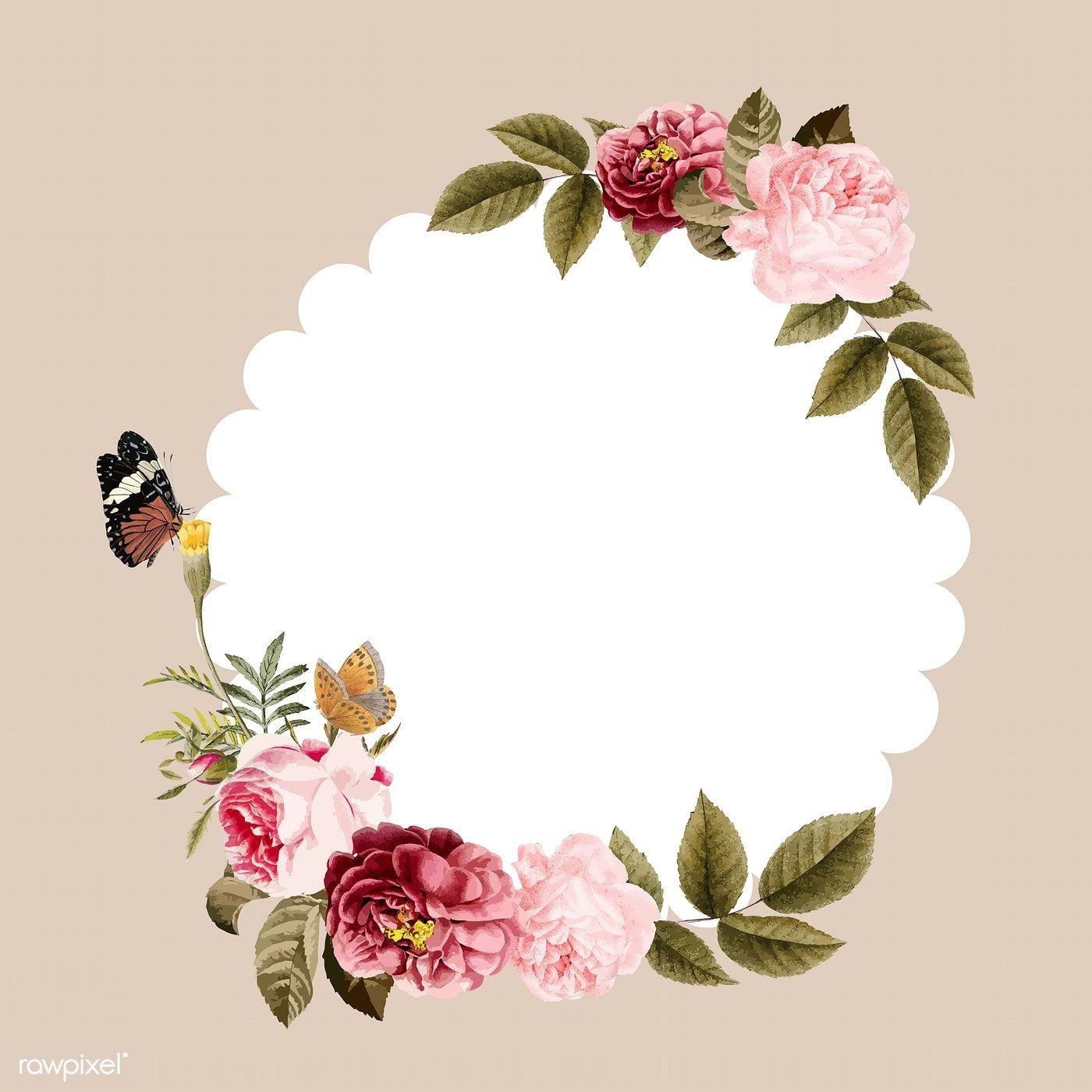 Download Premium Vector Of Blank Floral Frame Card Illustration 471747 Flower Illustration Card Illustration Frame Card