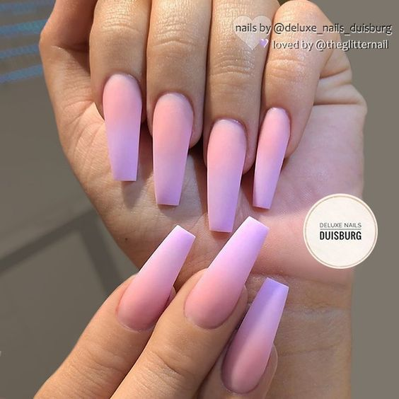50 Gorgeous Ombre Matte Nail Designs You Will Love Ombre Acrylic Nails Lilac Nails Purple Ombre Nails