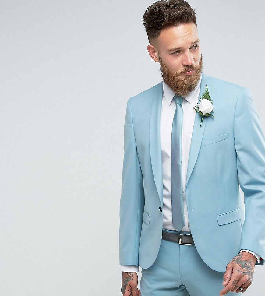 Noose & Monkey Super Skinny Wedding Suit Jacket - Blue | Wedding ...