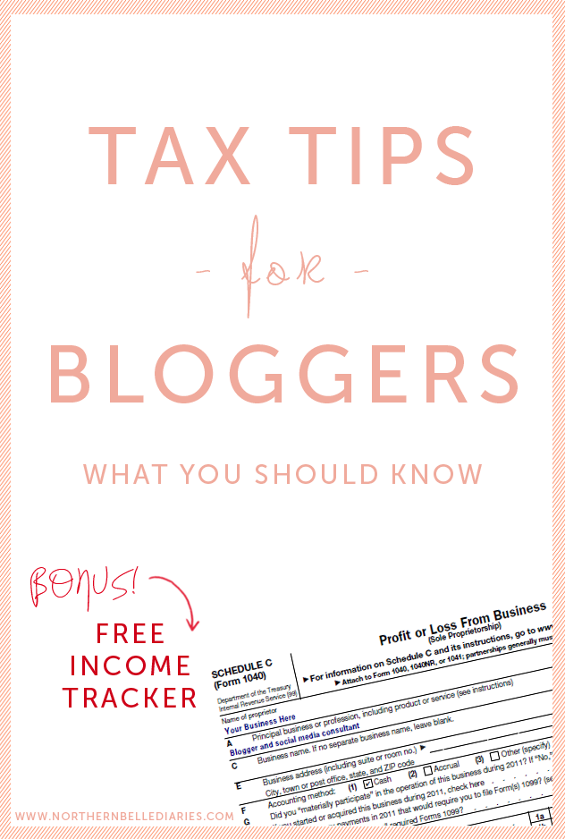 Tax Tips For Bloggers Plus Free Income Tracker Download  Blogging