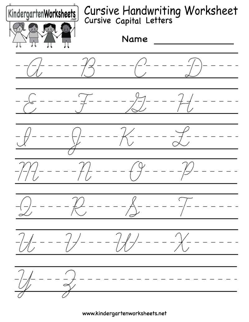 Worksheets Cursive Alphabet Printable kindergarten cursive handwriting worksheet printable school and free english for kids