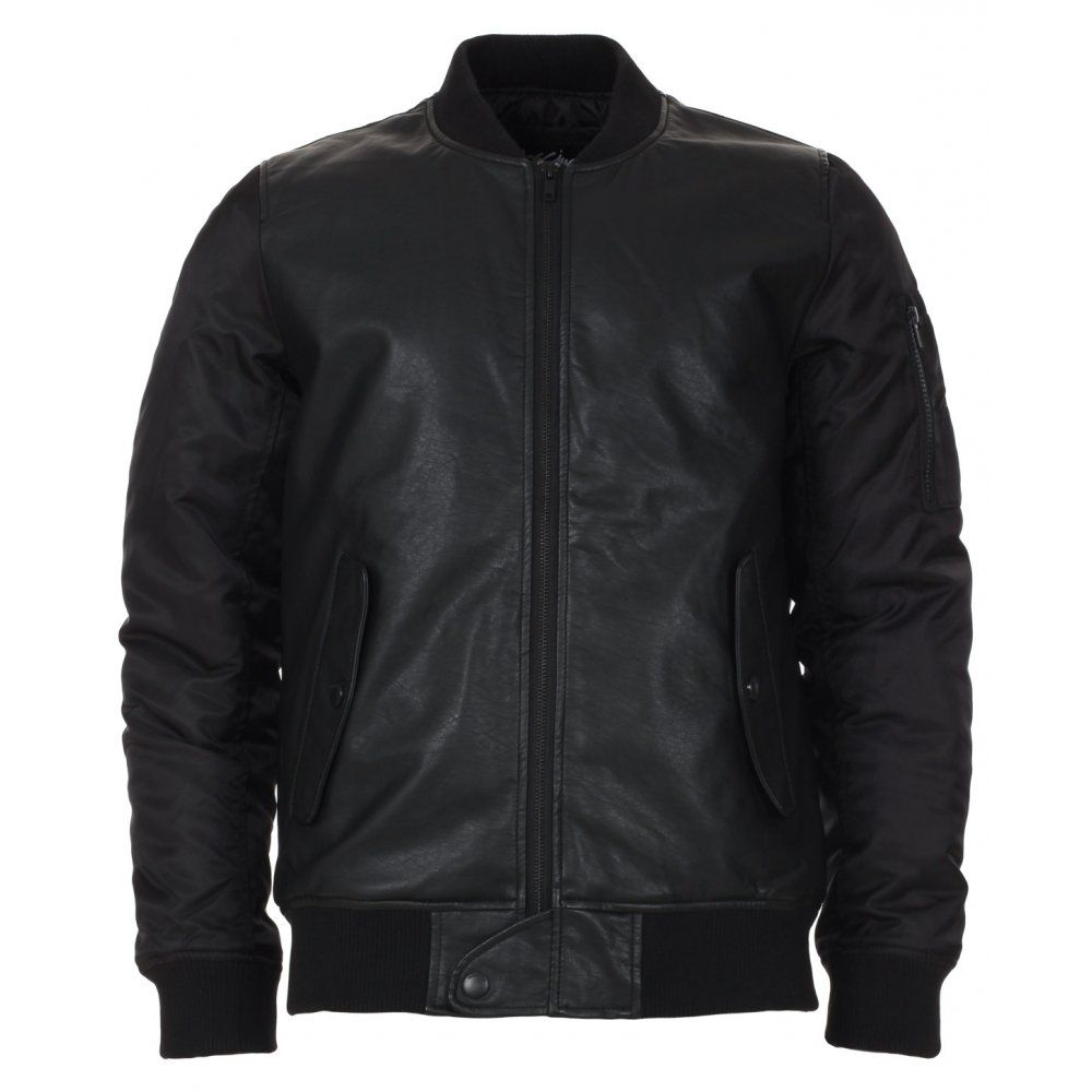 Images of Mens Black Faux Leather Jacket - Reikian