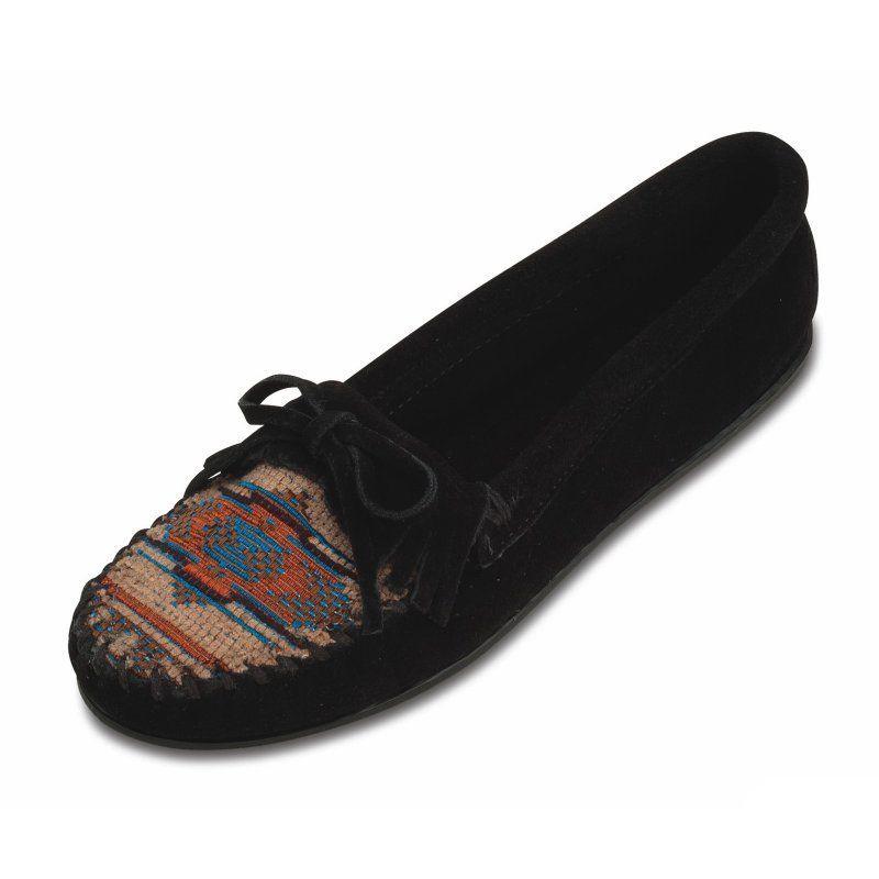Minnetonka Womens El Paso II Suede Moccasin - Black, Women's, Size: 6.5 Moccasin - 470K-BLACK-6.5