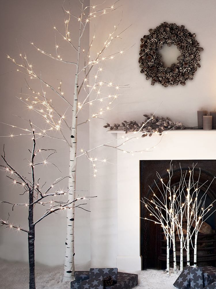 New Indoor Outdoor Light Up Birch Tree