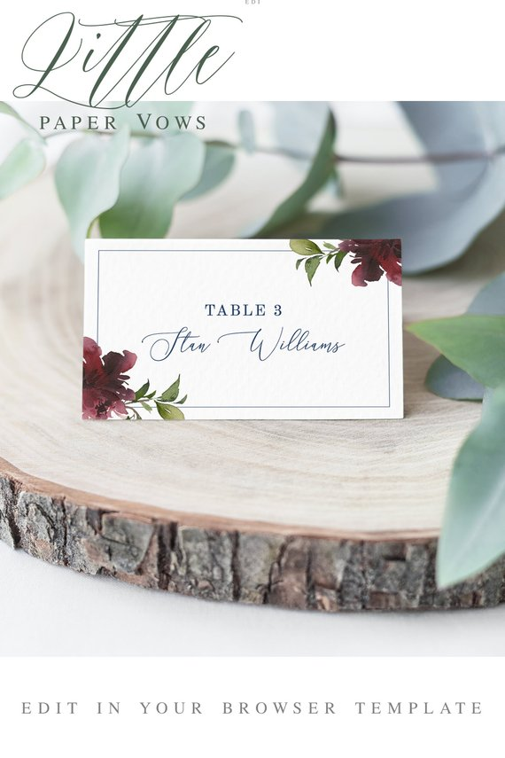 Printable Wedding Table Name Card Self Editing Template Edit In