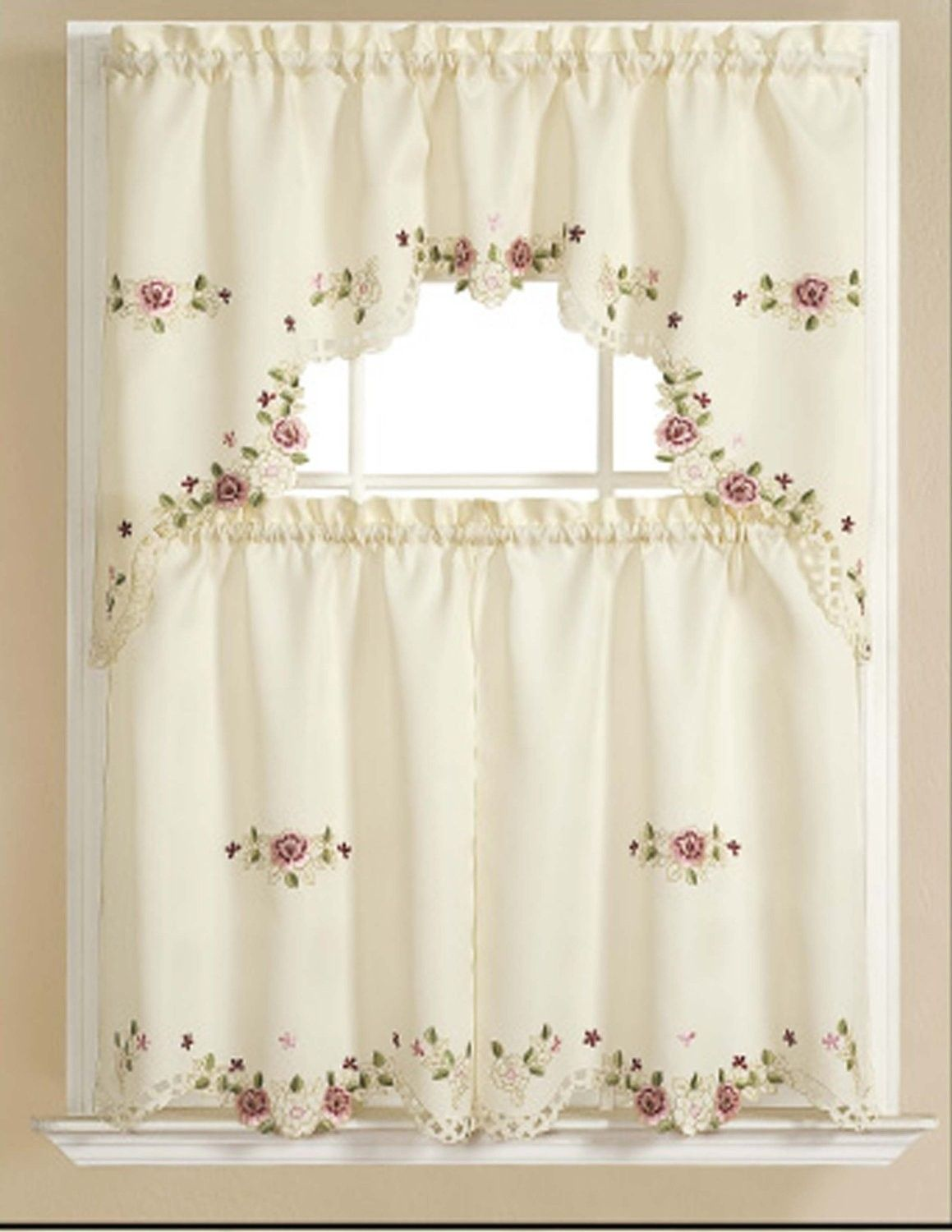 Alisha Elegant Embroidered Kitchen Curtain Swag Green Kitchen Curtains Curtains Kitchen Curtains