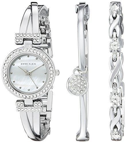 Anne Klein Women's AK/1869SVST Swarovski Crystal-Accented Silver-Tone Bangle Watch and Bracelet Set