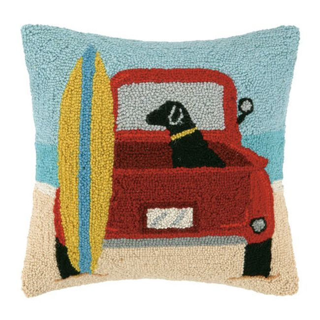 P Great Beach Dog Pillow With Black Lab Sitting In Red Van Why Not Add This Pillow To Your Coastal Vacation Home A Beach Pillows Wool Throw Pillows Pillows