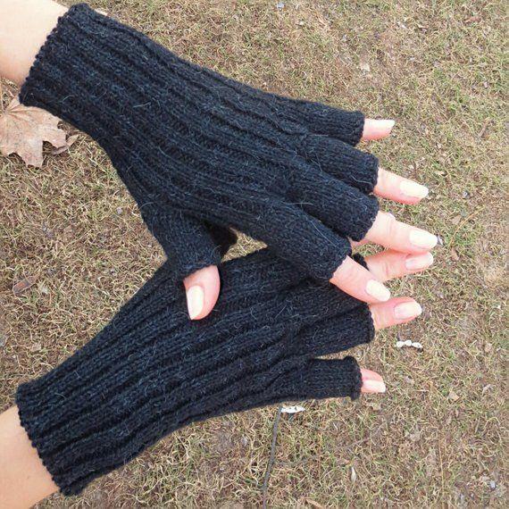 Soft wool gloves Winter knit gloves hand knit fingerless gloves women black gloves black men gloves black women gloves organic alpaca gloves