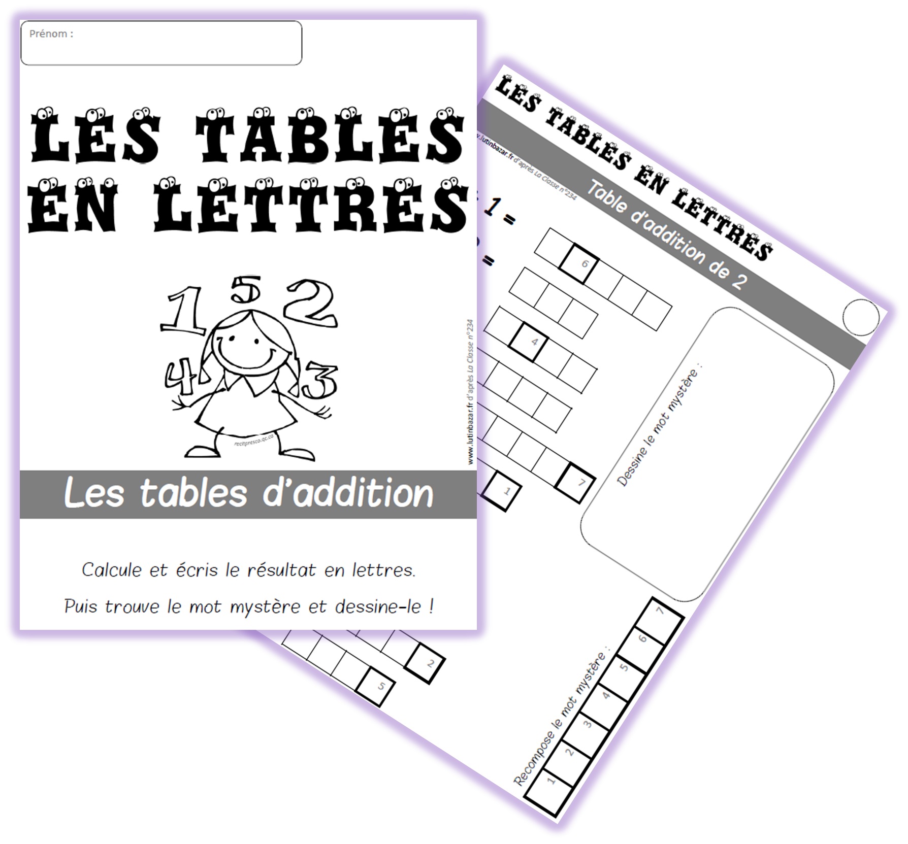 Les Tables En Lettres Chez Lutin Bazar Table Addition