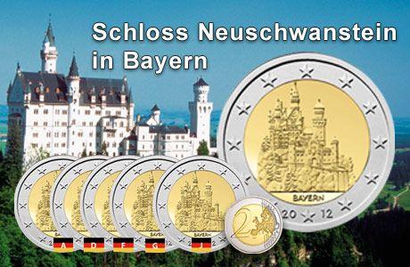 Deutschland 2 Euromunze Bayern Schloss Neuschwanstein Schlosser In Bayern Neuschwanstein Schloss Neuschwanstein