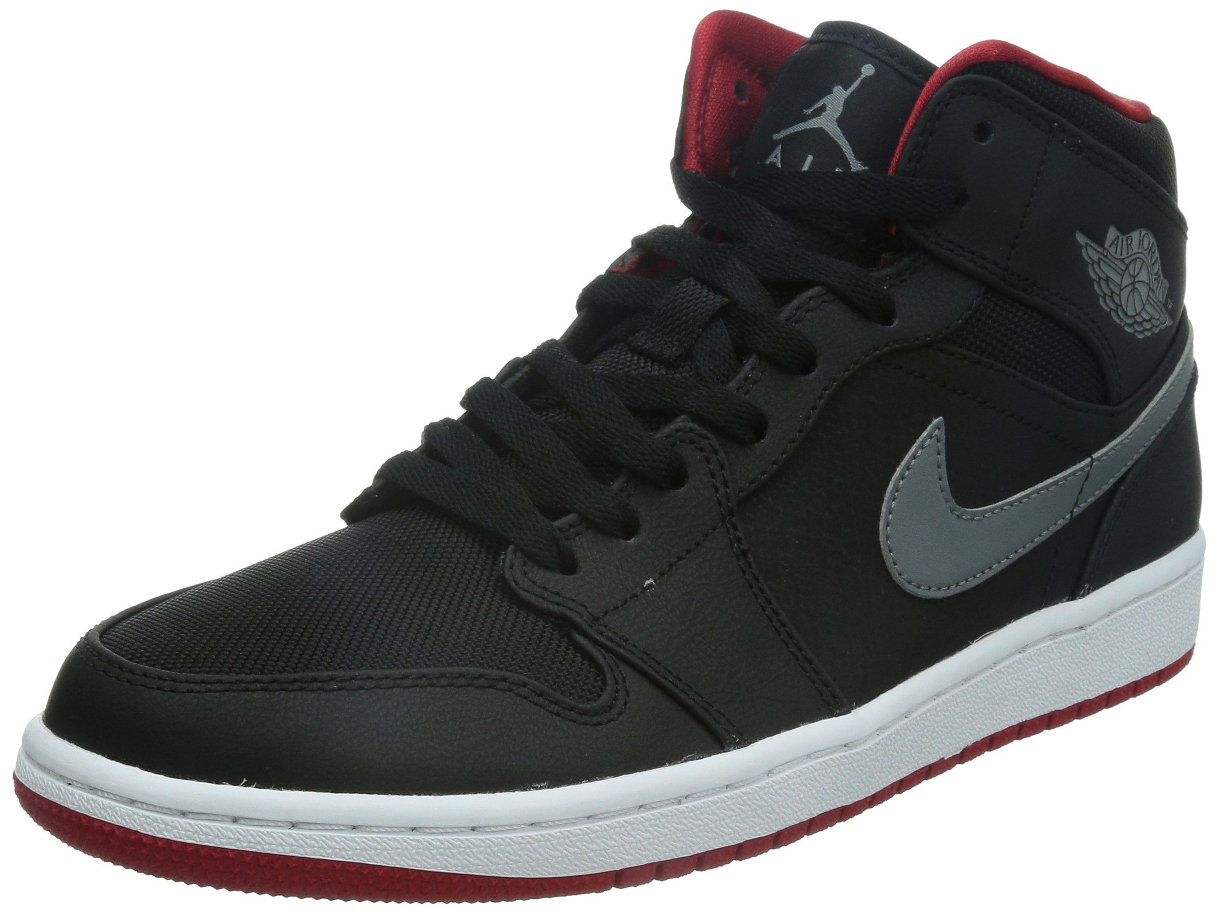 da406544be83 Nike Mens Air Jordan 1 Mid Black Cool Grey-Gym Red Synthetic Size 10.5  Basketball Shoes