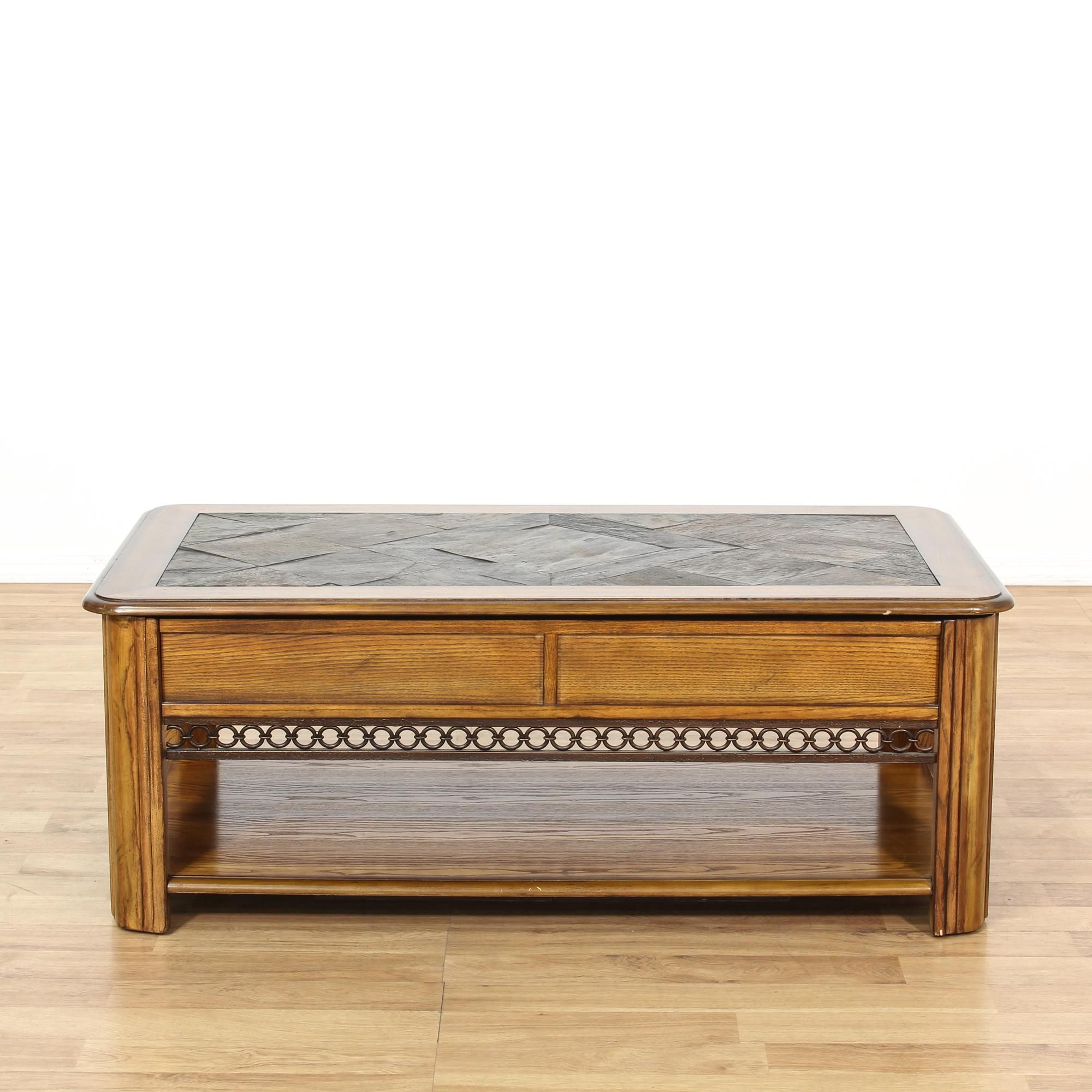 This rustic coffee table is featured in a solid wood with a glossy this rustic coffee table is featured in a solid wood with a glossy light oak finish this country chic coffee table has a lift up top with inset slate tile geotapseo Images