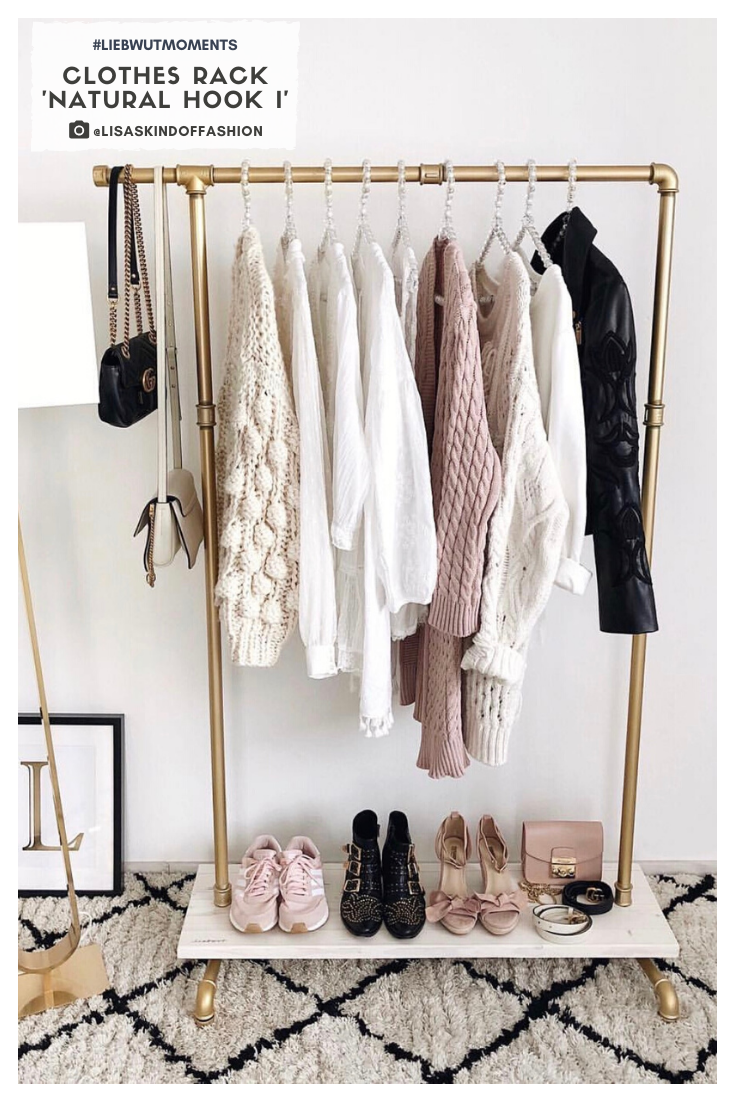 minimalism wardrobe idea / gold black and white interior / clothes rack inspo #liebwutmoments