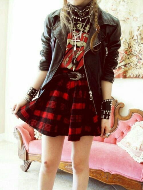 Photo of Punk. Grunge. Indie. Plaid Skirt. Red. Kiss Shirt. Leather Jacket. Studs. Jewelr…