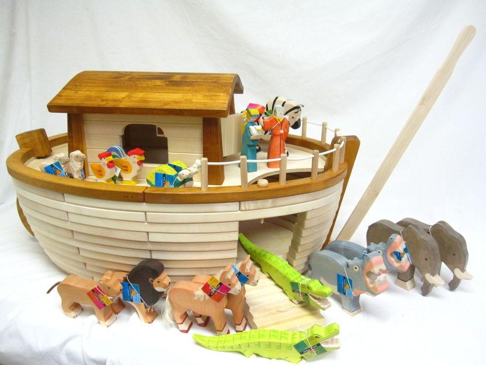 Holtztiger Germany Handcrafted Wood Noah S Ark Toy W Animals New Fao Schwarz Noahs Ark Craft Noahs Ark Ark Craft