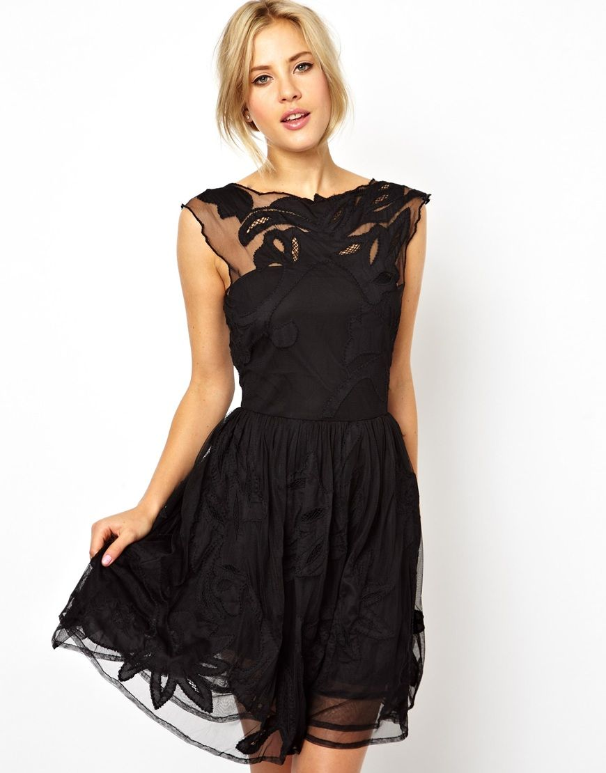 Black Cocktail dress with a lace edge flare. We saw this trend all ...