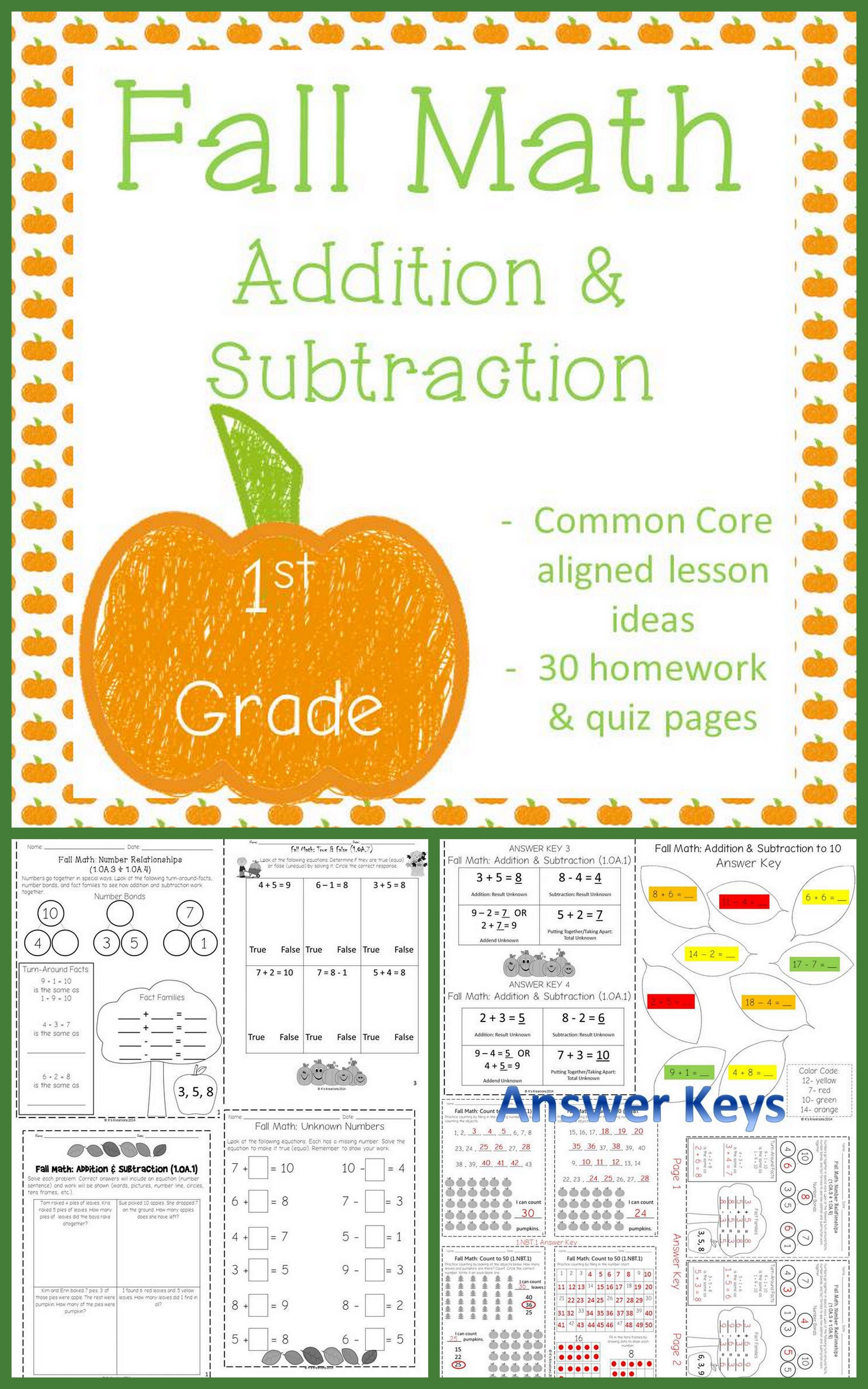 1st Grade Fall Math Homework Worksheets With Images