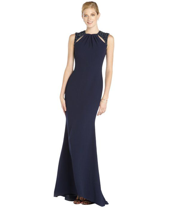 2811013f245 Badgley Mischka navy woven evening gown with beading and cutouts ...
