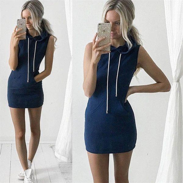 Cool Casual Hoodie Simple Mini Dress
