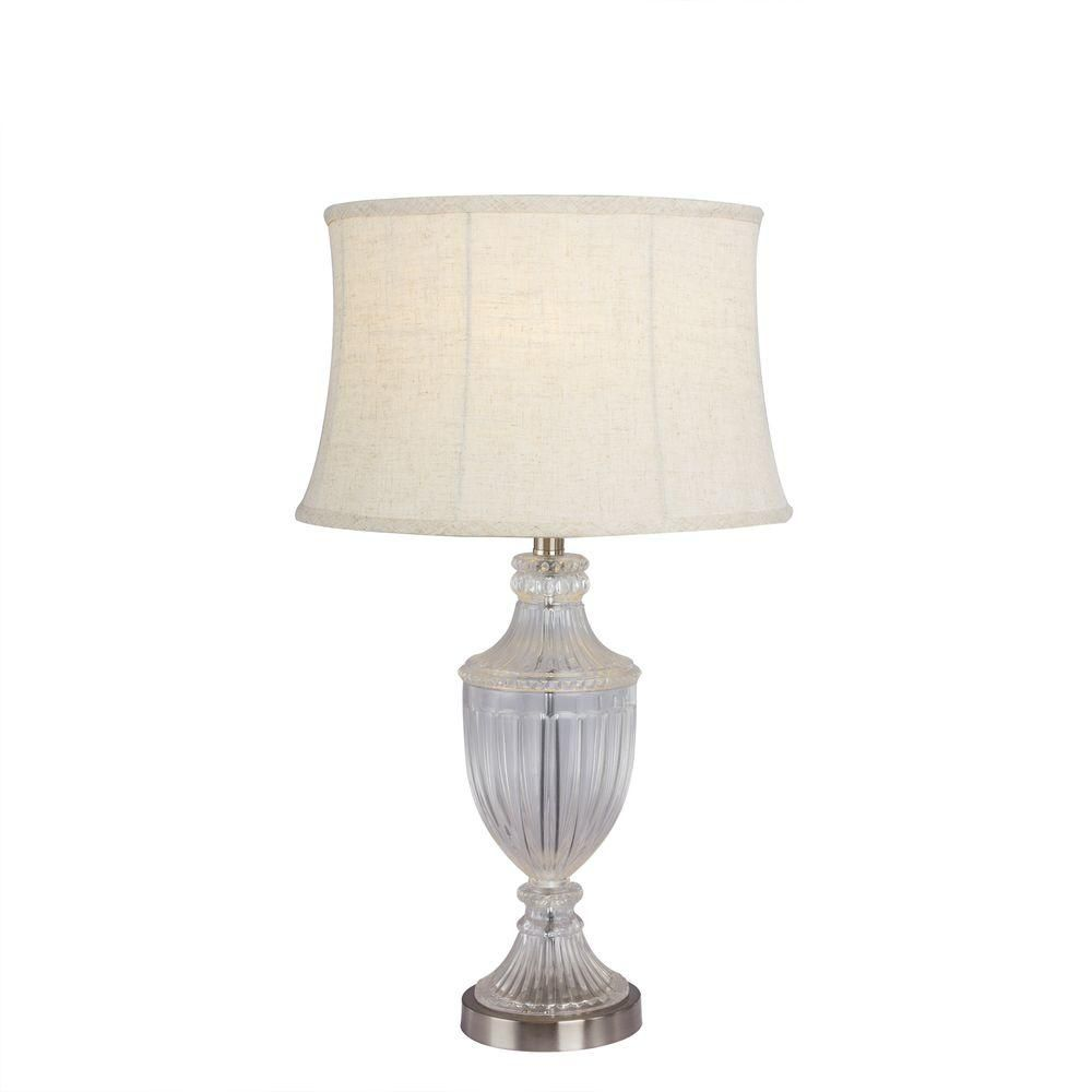 Fangio lighting 29 in brushed steel tall crystal table lamp brushed steel tall crystal table lamp geotapseo Images