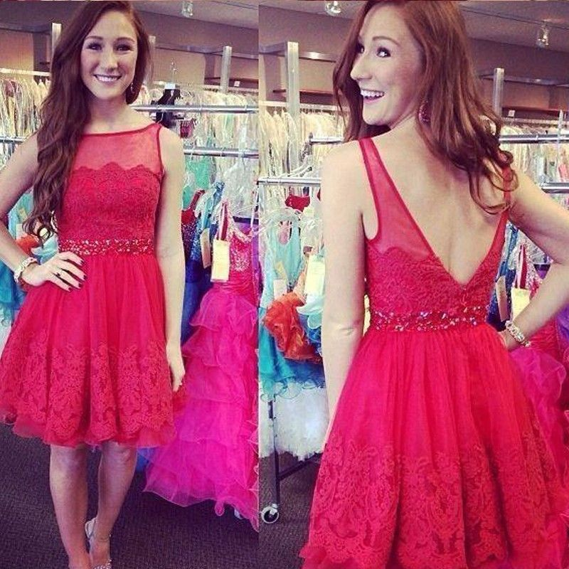 Hot Red Lace Homecoming Dresses Party Gowns Open Back Tulle ...