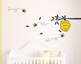 Bee Decal Hive Wall Sticker Honey Bees Yellow Spring Winnie the ...