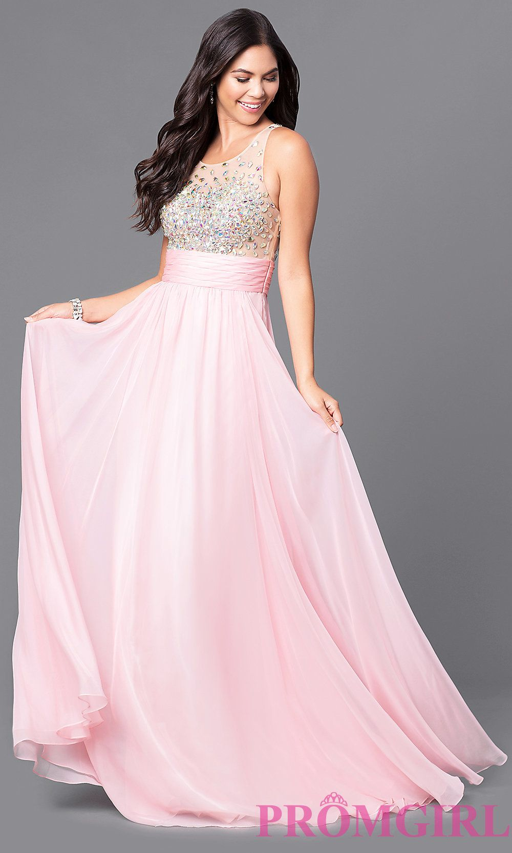 Image of long JVNX by Jovani prom dress with sheer bodice. Front ...