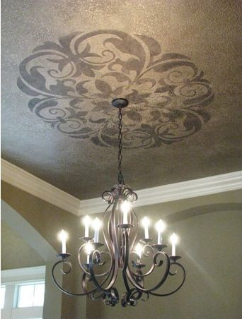 Put A Large Stencil Around A Chandelier Or A Ceiling Fan Foyer