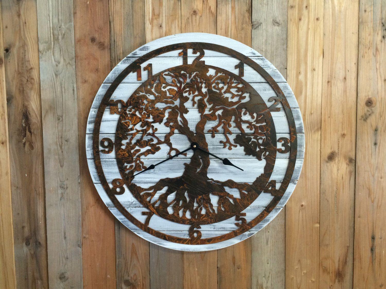 Pallet Wood Clock - Wood and Metal Clock - Wooden Clock ...