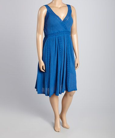 Another great find on #zulily! Royal Lace-Accent Surplice Dress - Plus #zulilyfinds
